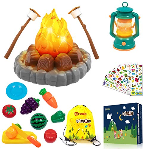 MITCIEN Camping Toys Play Set, Pretend Campfire, play food for kids with Oil Lantern, Pretend Fruits Vegetables Cutting…