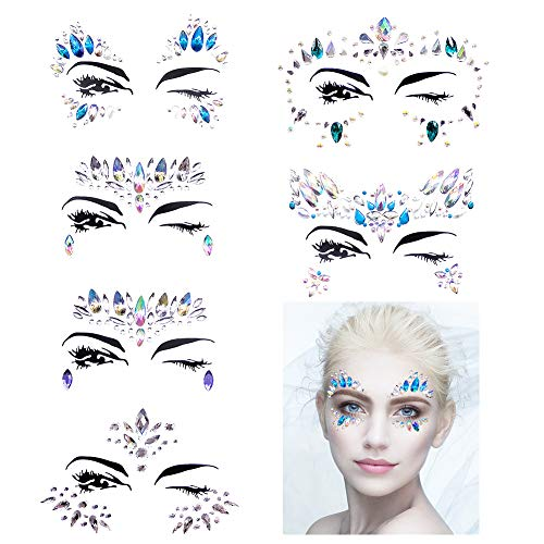 Face Gems Stickers, 6 Sheets Face Eyes Jewelry