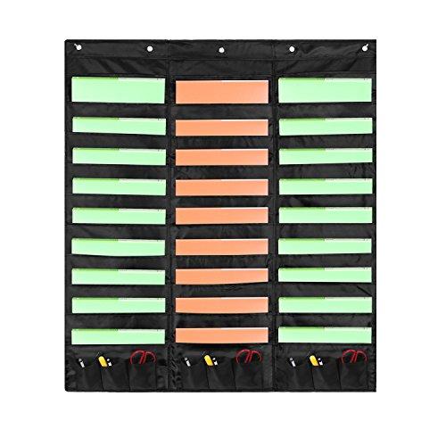 Samstar Wall File Folder Organizer (Black), Storage Pocket Chart for School, Classroom, Home or Office Use, 30 Pocket Chart Hanging Wall Organizer with 5 Hangers by SamStar (Image #7)