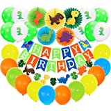 BeYumi Dinosaur Party Decoration Kit - Dinosaur Creatures Paper Fans, Happy Birthday Banner and Garland, Colorful Balloons with Patterns, Little Dino Themed Party Ideas for Kids Birthday