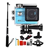Andoer 2.0″ LCD 4K WiFi Ultra HD Action Sports Camera 16MP 25FPS 1080P 60FPS 4X Zoom 25mm 173 Degree with 8in1 Action Camera Accessories and Aluminum Alloy Selfie Stick For Sale