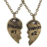 Lux Accessories Burnished Gold Friendship Weirdo Heart Shaped Engraved Necklace
