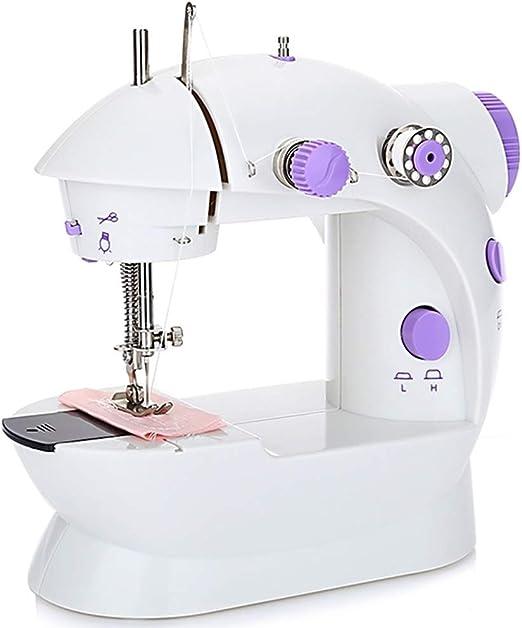 Wealthgirl Máquina de Coser portátil Mini máquina de Coser con máquina de reparación eléctrica de 2 velocidades de Doble Hilo Ajustable con Cortador y Pedal para Uso doméstico, Viaje: Amazon.es: Hogar