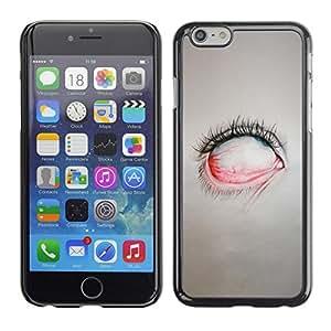 Cubierta de la caja de protección la piel dura para el Apple iPhone 6 (4.7) - creepy eye painting emo sad goth