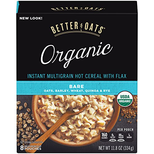 Organic Instant Oatmeal - Better Oats Organic Instant Hot Cereal with Flax, Bare, 8 Pouch Boxes (Pack of 6)