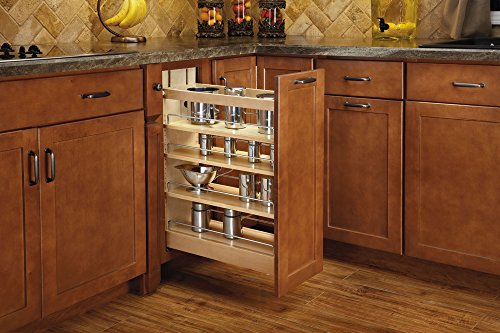 - Rev-A-Shelf - 448-BCBBSC-8C - 8 in. Pull-Out Wood Base Cabinet Organizer with Ball-Bearing Soft-Close Slides