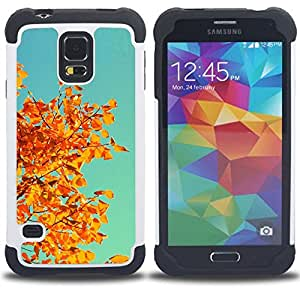 Dragon Case- Dise?¡Ào de doble capa pata de cabra Tuff Impacto Armor h??brido de goma suave de silicona cubierta d FOR Samsung Galaxy S5 I9600 G9009 G9008V- TREE BRANCH AUTUMN LEAVES ORANGE YELLOW