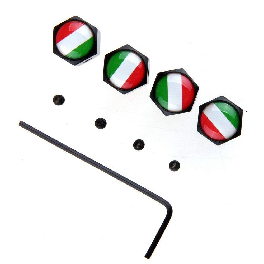 air /étanche et Protection Votre Tige de Valve Set Drapeau Italien Style v/élo Moto Voiture Pneu Valve Valve Bouchons de la Tige pour Voiture//Moto 4pcs