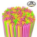 210 Pack Large Milkshake / Smoothie / Slush Straws, Disposable Jumbo Extra Wide Thick Shake Long Plastic Drinking Straw, Assorted Colors, 9
