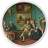 Pixels Round Beach Towel With Tassels featuring ''The Dutton Family In The Drawing Room Of Sherborne Park, Gloucestershire'' by Pixels
