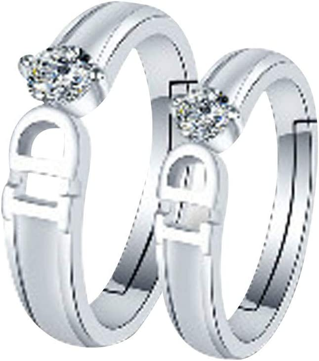Men Women Promise Ring Cnebo Fashion Silver Rings for Couples 2 Pieces Simple Crystal Zirconia Open Rings Adjustable Size Wedding Engagement Band Jewelry Gift