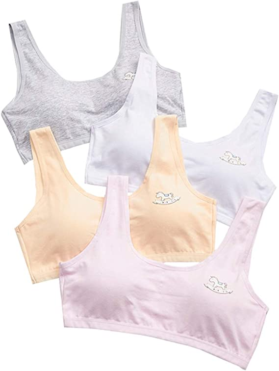 Girls Hipsters Crop Top Set Underwear Bra Unicorn Cotton Rich Size 8-13 Years