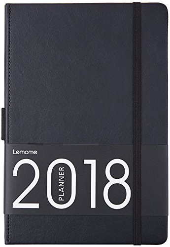 "Planner 2018 with Pen Loop – Academic Weekly, Monthly and Year Planner, to Achieve Your Goals & Improve Productivity, Thick Paper, Inner Pocket, 5.75"" x 8.25"", Black by Lemome"