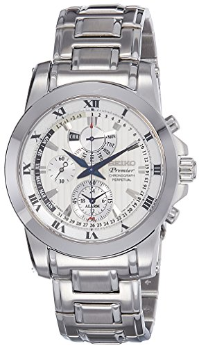SEIKO SPC159P1,Men's Premier,Perpetual Alarm Chronograph,Stainless Steel Case & Bracelet,Sapphire Crystal,100m WR,SPC159 (Alarm Chronograph Bracelet)