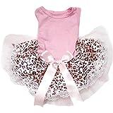 Puppy Clothes Animal Dress Pink Cotton Top Leopard Lace Tutu Dog Dress (Medium)