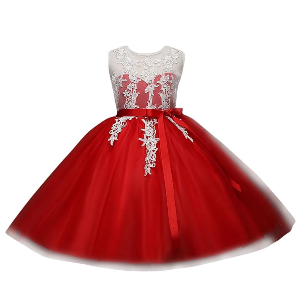 Kobay Infant Girls Embroidery Lace Floral Print Backless Princess Dress Wedding Formal Dress Suit for 2-6 Years Girls