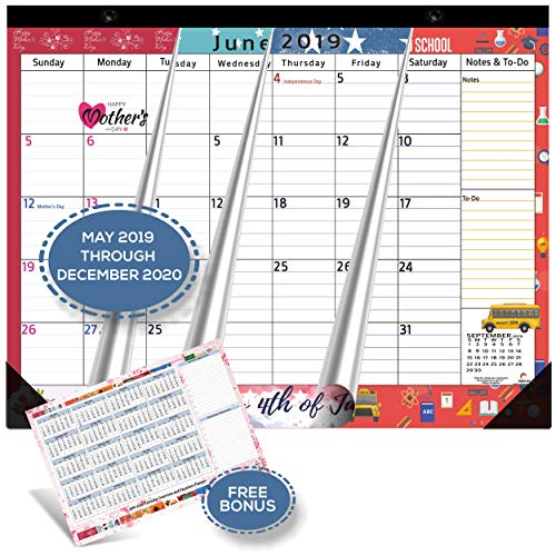 Magnetic Calendar 2019 - 2020 for Fridge by StriveZen, 17x12 inch, Large Monthly May 2019- Dec 2020, Strong Magnets for Refrigerator, Academic, Bonus 2019 Planner, Holiday Theme, eBook on Organizing]()