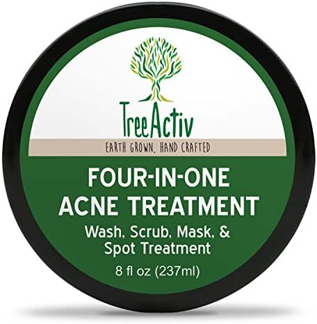 TreeActiv Four-in-One Acne Treatment, Wash, Scrub, Mask, and Spot Treatment, Heals Rosacea, Exfoliating Sugar, Face or Body, Natural Sulfur Clear Skin Cleanser, Bentonite (8 Oz)