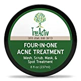 Facial Mask For Rosacea - TreeActiv Four-in-One Acne Treatment | Wash, Scrub, Mask, and Spot Treatment | Heals Rosacea | Exfoliating Sugar | Face or Body | Natural Sulfur Clear Skin Cleanser | Bentonite (8 Oz)