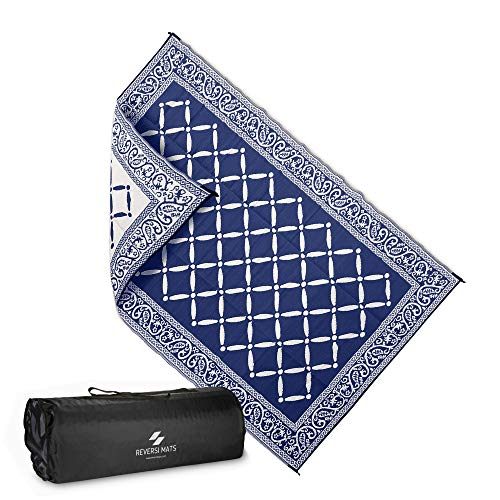 AdvenGo Reversi Mats (6' x 9') Medium Mat and Rug for Outdoors, RV, Patio, Trailer & Camping - Heavy Duty, Weather Resistant Reversible Rugs - Comes with Storage Bag - Great for Picnics - Blue/Beige