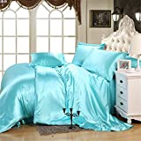 Is a California King Bigger Than a King Hotel Luxury Silky Satin 6-piece Bedding Set 1 Flat Sheet 1 Fitted Sheet 4 Pillowcases California King Size Lake Blue 16