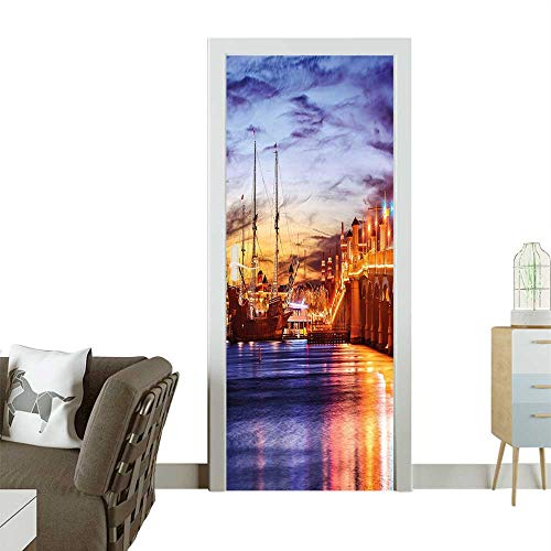 Door Sticker Wall Decals St. August e Florida Famous Bridge Li Sunset Maj tic Orange Blue Easy to Peel and StickW38.5 x H77 INCH ()