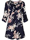 Women Shirts for Work,Ladies Summer Casual 3/4 Cuffed Sleeve Office Blouse V Neck Pleated Swing Flowing Floral Print Chiffon Tunic Office Shirts Lightweight Cool Easy Fit Swing Clothes Blue Flower XL