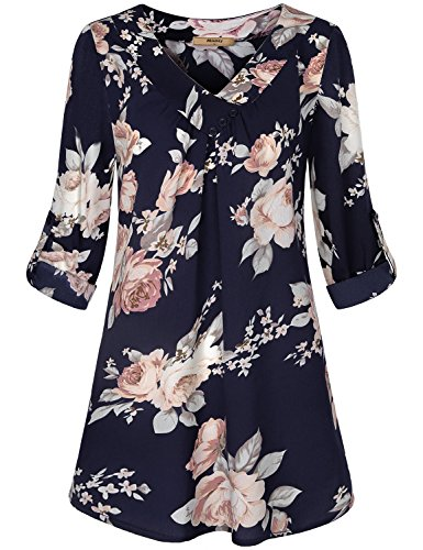Cuffed Sleeve Shirt,Miusey Womens Chiffon Office Blouses Roll up V Neck Flowy Tops Long SleeveTee Girls Fashion Layered Comfy Silk Casual Long Floral Printed Boho Beach Tunic for Fall Blue Flower XXL