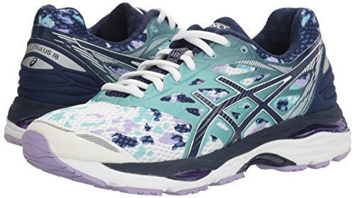 Pictures of ASICS Women's Gel-Cumulus 18 running Shoe Asics Blue/Silver/Safety Yellow 4