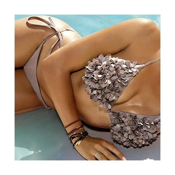 Donna e Ragazza Lace Up Bikini Spiaggia Set con Petalo Costume Intima da Bagno con Imbottito Push-Up Coordinati… 2 spesavip