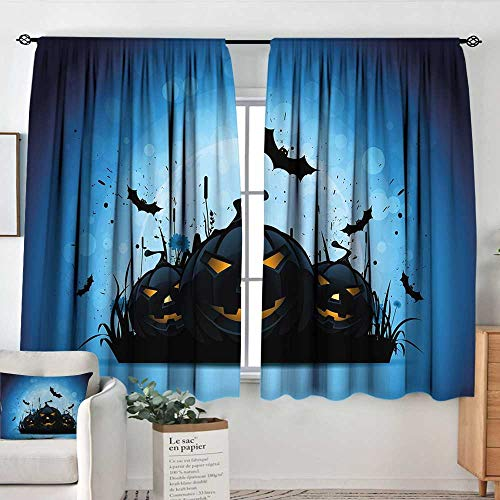 Elliot Dorothy Curtains for Bedroom Halloween,Scary Pumpkins in Grass with Bats Full Moon Traditional Composition,Black Yellow Sky Blue,Insulating Room Darkening Blackout Drapes 42