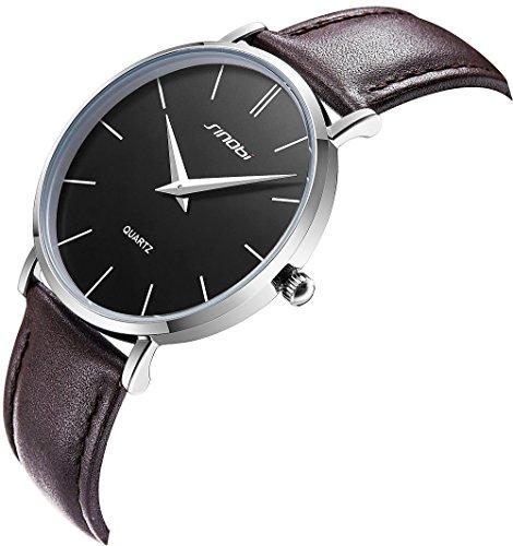 Sinobi Ultra Thin Minimalist Genuine Leather Strap Stainless Steel Mens Watch Unisex Wrist Watch  Black Dial Genuine Strap
