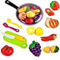FUNERICA Toy Cooking Pan with Beautiful Play Food, Cutting Toy Vegetables and Fruits, Toy Knife and Play Kitchen Toy Utensils - Toy Kitchen Accessories Set