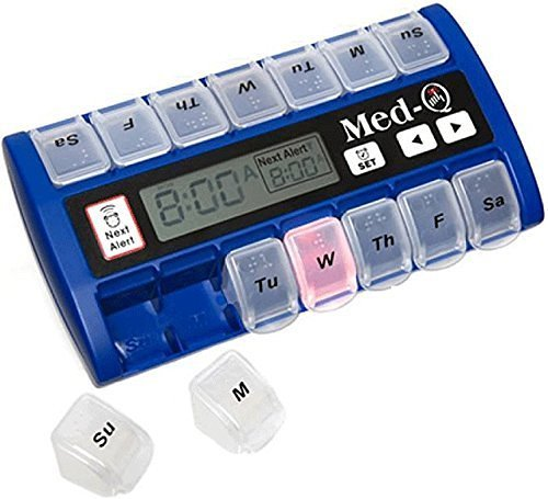Med-Q Digital Pill Box Dispenser with Liberty Cloth and 2 Electronic Wipes by MED-Q Pillbox Compliance System