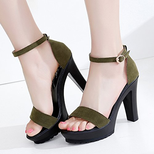 Ante Alto Altos Simple de Tacones YMFIE del Moda de pie tacón del del Dedo Correa señoras Verano la la del B de Sandalias ppwzAqg