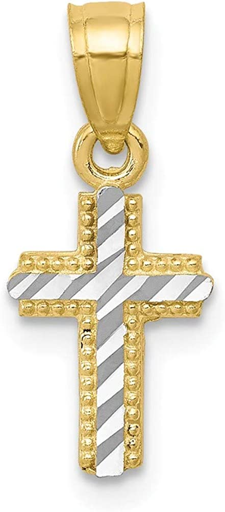 10k Yellow with White Rhodium Two-tone Gold Diamond-Cut Cross Pendant
