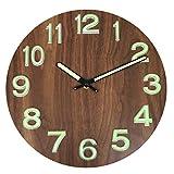 Foxtop Night Light Function Wooden Wall Clock, Silent Non-Ticking Luminous Wall Clock