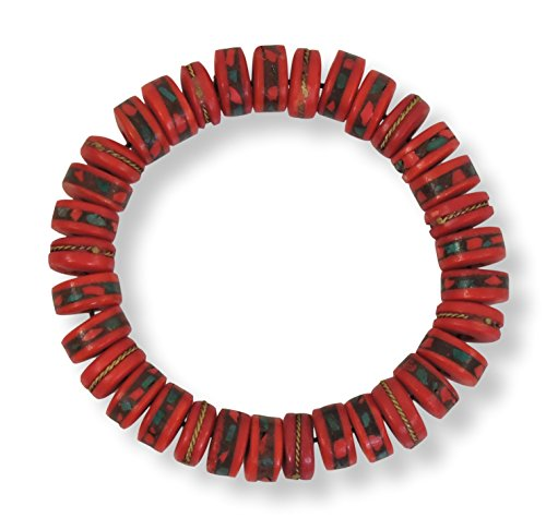 (Chakra Crafts Yak Bone Healing Wrist Mala Yoga Bracelet with Stretchy Cordfor Meditation (Red Medicine))