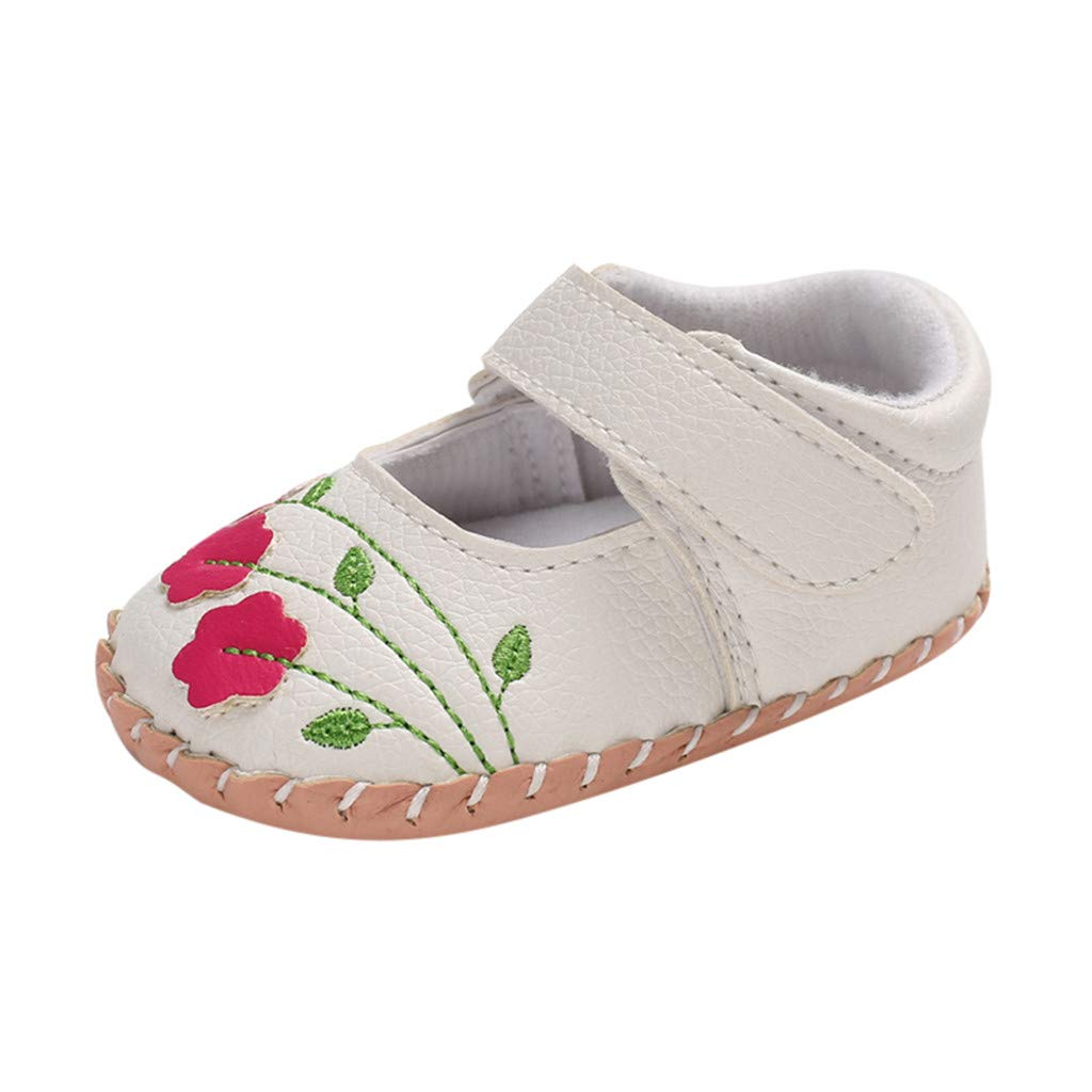 NUWFOR Infant Newborn Baby Girls Soft Sole Applique Embroidery Princess Shoes (White,0~6 Month)