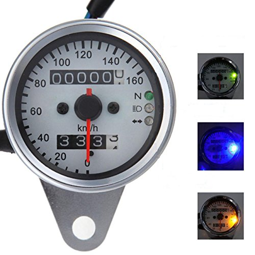 Motorcycle Speedometer gauge , INNOGLOW Universal LED Backlight Dual Odometer Speedometer Gauge Indicator KMH Neutral (Yamaha R6s Headlights compare prices)
