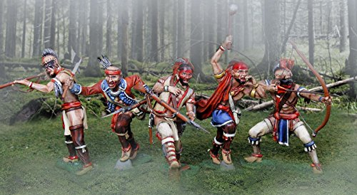 American Revolutionary War Iriquois Indians 6 Figure Set by The Collectors Showcase Painted Metal 1/32 Scale Toy Soldiers W Britain King Country