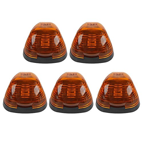 Partsam 5pcs Amber Cab Roof Top Marker Cover/Lens+ 5xCab Base for 99-16 Ford E/F Super - Ford 06 Super F150 Cab