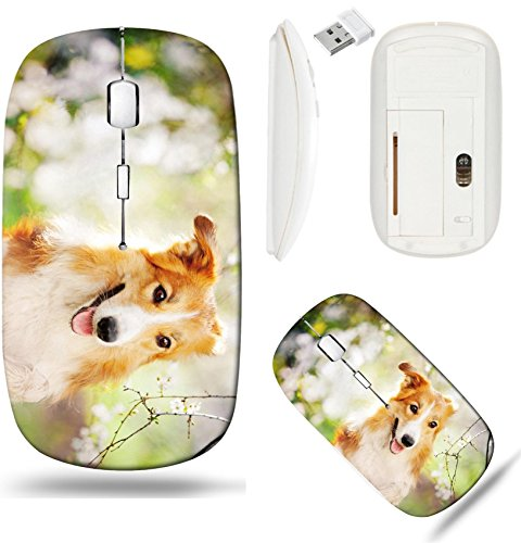 Liili Wireless Mouse White Base Travel 2.4G Wireless Mice with USB Receiver, Click with 1000 DPI for notebook, pc, laptop, computer, mac book border collie dog portrait on a background of white flower