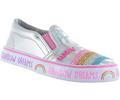 840e6f30d0e Girls Childrens Kids Shiny Silver Slip on Skater Shoes with Glitter Rainbow  Trim on The Toes