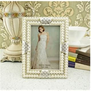 graces dawn handmade pearl inlaid frame 4x6 inch photo opening white pearls with crystals picture