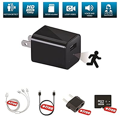 Hidden Camera Spy Cam USB Charger for Home Security, Secret Nanny Cameras Surveillance, Wifi Not Required, INCLUDES 32GB and BONUS ACCESSORIES by Covert Cams by Marquee Fine Products