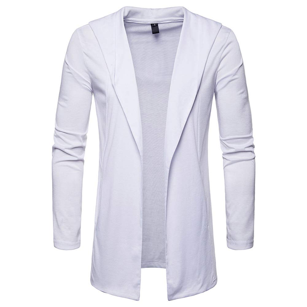 TOPUNDER Autumn Winter Solid Long Sleeve Cardigan Men Turn-Down Collar Top Blouse by TOPUNDER