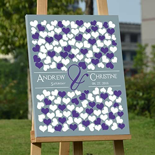 Unique Wedding Gifts For Bride And Groom: Amazon.com: Personalized Wedding Guest Book Canvas Heart