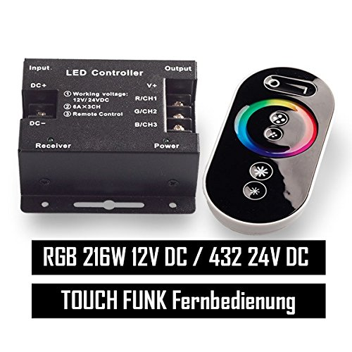 Mextronic LED RF RGB Steuerung RGB LED Controller Touch Funkfernbedienung bis 18A RGB Kontroller