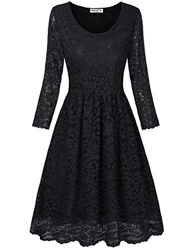 HNNATTA Black Lace Dresses, Teens Graduation Dresses O Neck 3/4 Sleeve Flattering Flowy Skater Dress Elegant Bridesmaid Cocktail Dresses Black XX-Large